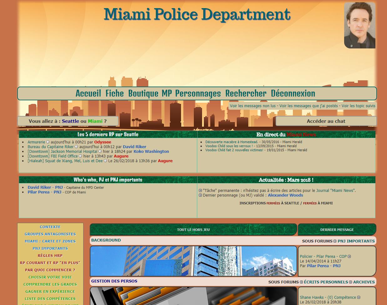 SPD RPG existe depuis mai 2005, il était donc temps de faire un petit frère à ce forum à la longévité record en ouvrant la ville de Miami ! Venez devenir un Policier et jouer sous le soleil. Drogues, trafics, cubains & haïtiens vous attendent !